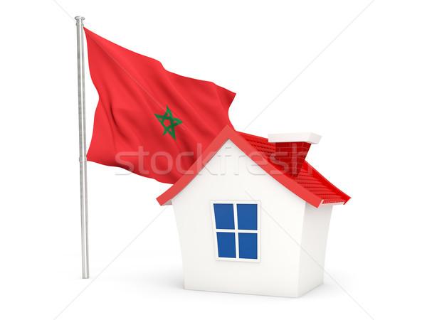 Casa bandeira Marrocos isolado branco casa Foto stock © MikhailMishchenko