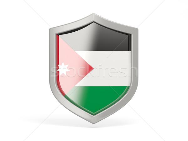 Tarcza ikona banderą Jordania odizolowany biały Zdjęcia stock © MikhailMishchenko