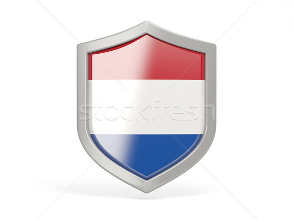 щит икона флаг Нидерланды изолированный белый Сток-фото © MikhailMishchenko