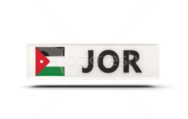 Praça ícone bandeira Jordânia iso código Foto stock © MikhailMishchenko