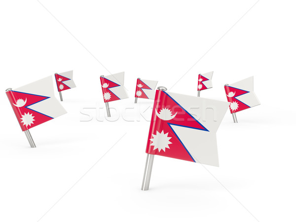 Cuadrados bandera Nepal aislado blanco país Foto stock © MikhailMishchenko