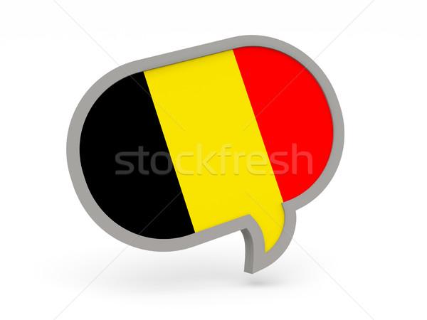 Sohbet ikon bayrak Belçika yalıtılmış beyaz Stok fotoğraf © MikhailMishchenko