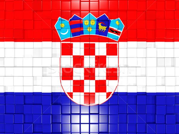 Tér alkatrészek zászló Horvátország 3d illusztráció mozaik Stock fotó © MikhailMishchenko