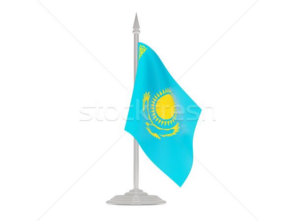 Bandera Kazajstán asta de bandera 3d aislado blanco Foto stock © MikhailMishchenko