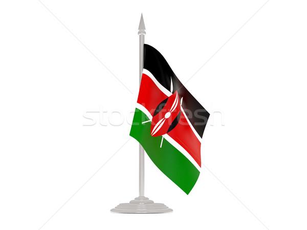флаг Кения флагшток 3d визуализации изолированный белый Сток-фото © MikhailMishchenko