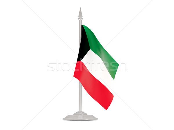 Flag of kuwait with flagpole. 3d render Stock photo © MikhailMishchenko