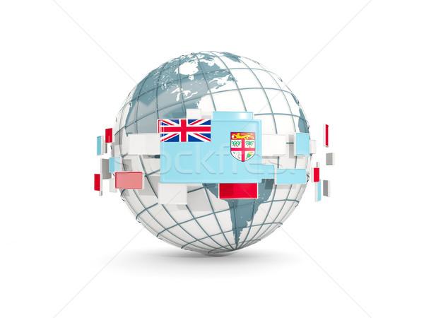 Mondo bandiera isolato bianco illustrazione 3d mappa Foto d'archivio © MikhailMishchenko