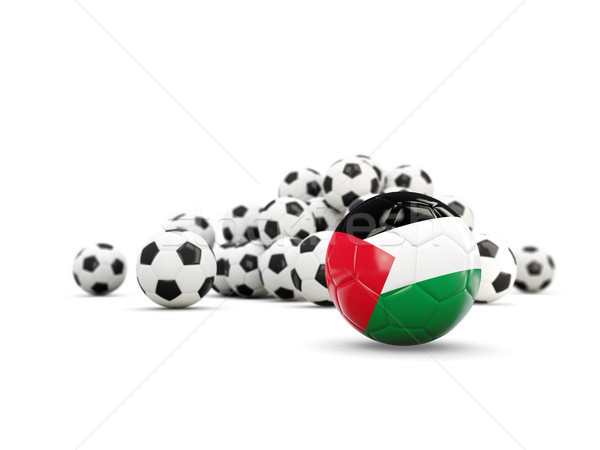 Football with flag of palestinian territory isolated on white Stock photo © MikhailMishchenko