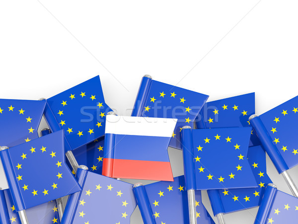 Flag pins of Russia and EU isolated on white Stock photo © MikhailMishchenko