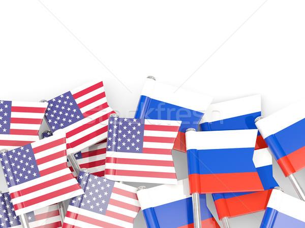 Vlag usa geïsoleerd witte 3d illustration amerika Stockfoto © MikhailMishchenko