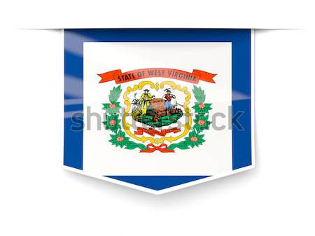 Banderą zachód placu ikona odizolowany biały Zdjęcia stock © MikhailMishchenko