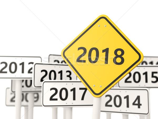 Nowy rok symbol znak drogowy 3d ilustracji podpisania żółty Zdjęcia stock © MikhailMishchenko