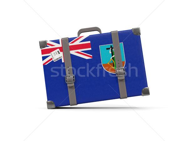 Luggage with flag of montserrat. Suitcase isolated on white Stock photo © MikhailMishchenko