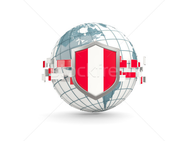 świecie tarcza banderą Peru odizolowany biały Zdjęcia stock © MikhailMishchenko