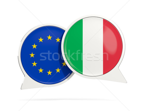 Chat bubbles of EU and Italy isolated on white Stock photo © MikhailMishchenko
