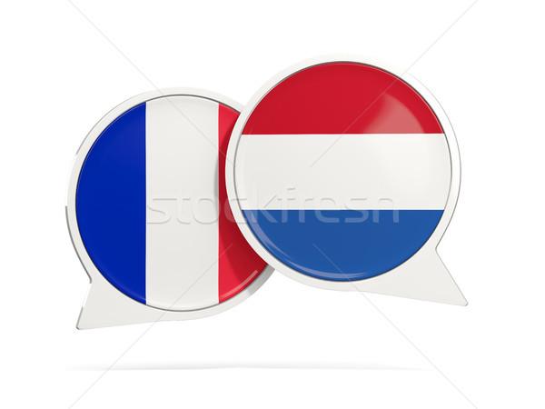 チャット 泡 フランス オランダ 孤立した 白 ストックフォト © MikhailMishchenko