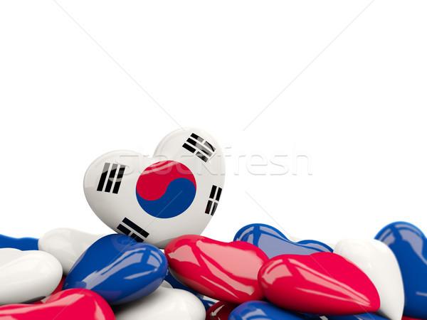 сердце флаг Южная Корея Top сердцах изолированный Сток-фото © MikhailMishchenko