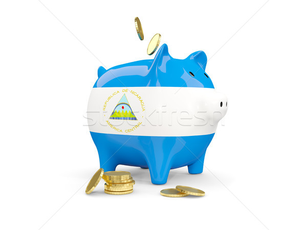 Fat piggy bank with fag of nicaragua Stock photo © MikhailMishchenko