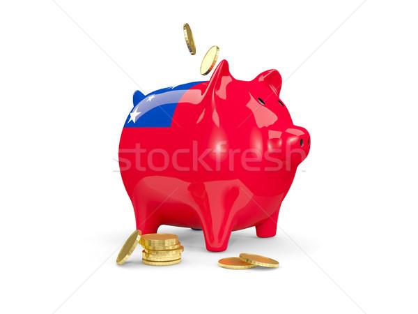 Vet spaarvarken Samoa geld geïsoleerd witte Stockfoto © MikhailMishchenko