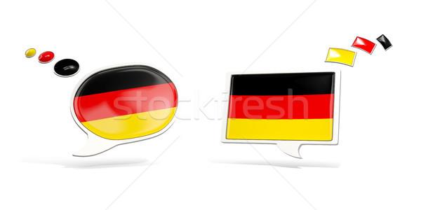Foto stock: Dois · conversar · ícones · bandeira · Alemanha · praça