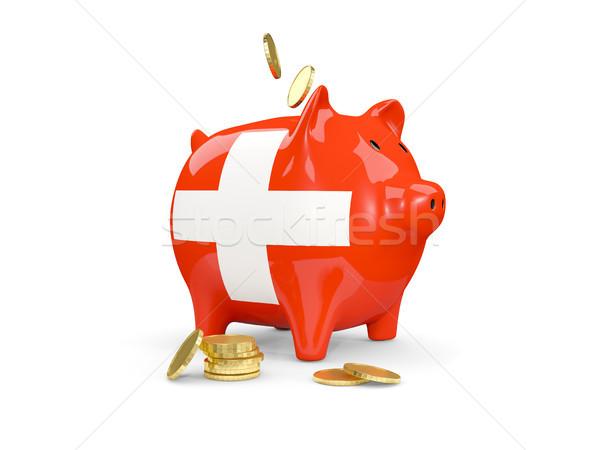 жира Piggy Bank Швейцария деньги изолированный белый Сток-фото © MikhailMishchenko