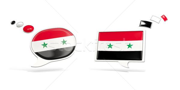 Dois conversar ícones bandeira Síria praça Foto stock © MikhailMishchenko