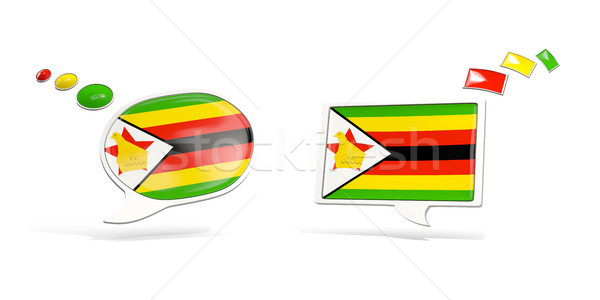 Two chat icons with flag of zimbabwe Stock photo © MikhailMishchenko