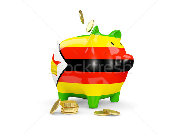Fat piggy bank with fag of zimbabwe Stock photo © MikhailMishchenko