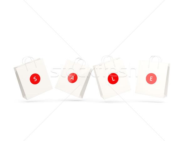 Vásár vásárlás papír bevásárlótáskák izolált fehér Stock fotó © MikhailMishchenko