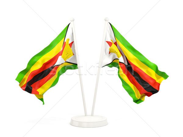 2 フラグ ジンバブエ 孤立した 白 ストックフォト © MikhailMishchenko