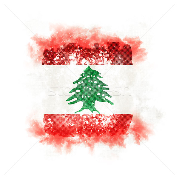 Kare grunge bayrak Lübnan 3d illustration Retro Stok fotoğraf © MikhailMishchenko