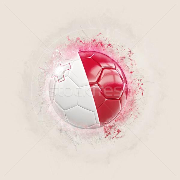 Grunge voetbal vlag Malta 3d illustration wereld Stockfoto © MikhailMishchenko
