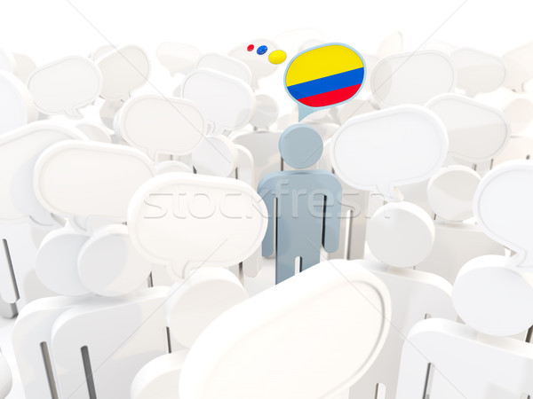 Man with flag of colombia in a crowd Stock photo © MikhailMishchenko