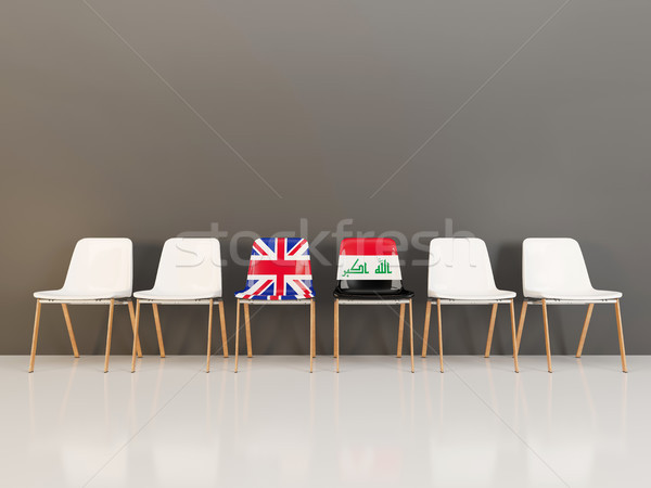 Sandalye bayrak Büyük Britanya Irak 3d illustration Stok fotoğraf © MikhailMishchenko