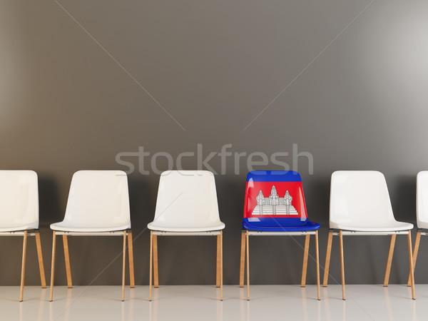 Szék zászló Kambodzsa csetepaté fehér székek Stock fotó © MikhailMishchenko