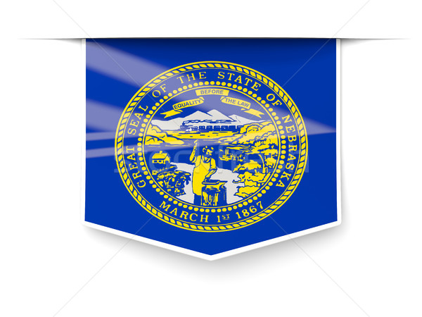 nebraska state flag square label with shadow. United states loca Stock photo © MikhailMishchenko