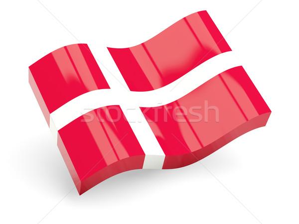 3D vlag Denemarken geïsoleerd witte reizen Stockfoto © MikhailMishchenko