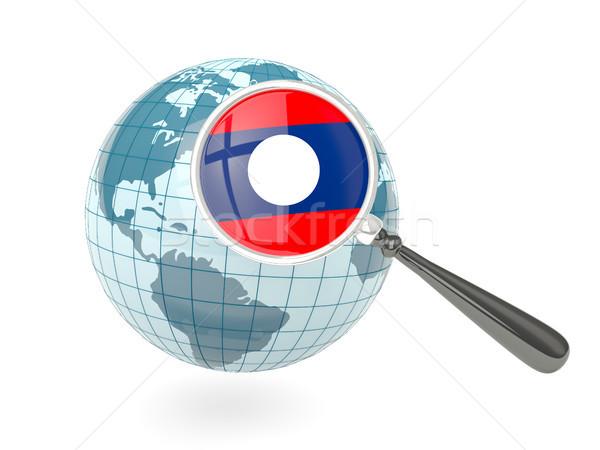 Banderą Laos niebieski świecie odizolowany Zdjęcia stock © MikhailMishchenko
