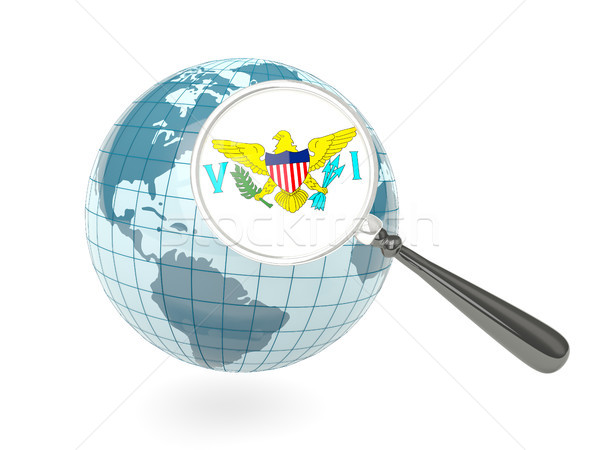 Magnified flag of virgin islands us with blue globe Stock photo © MikhailMishchenko