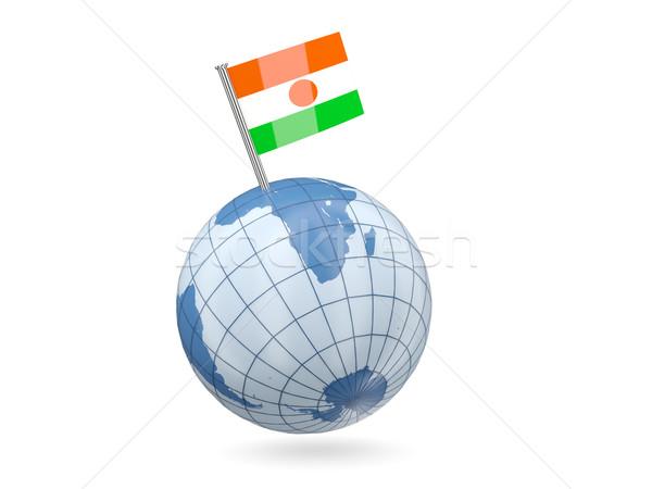 Mundo bandera Níger azul aislado blanco Foto stock © MikhailMishchenko