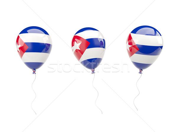 Aria palloncini bandiera Cuba isolato bianco Foto d'archivio © MikhailMishchenko