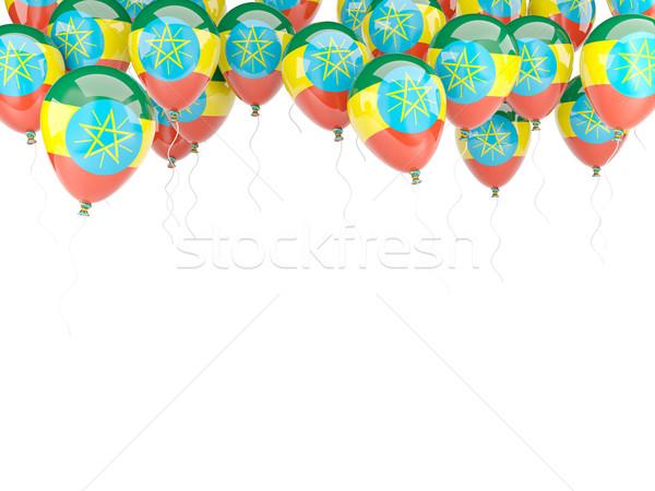 Balon ramki banderą Etiopia odizolowany biały Zdjęcia stock © MikhailMishchenko