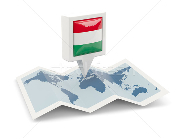 Cuadrados pin bandera Hungría mapa viaje Foto stock © MikhailMishchenko