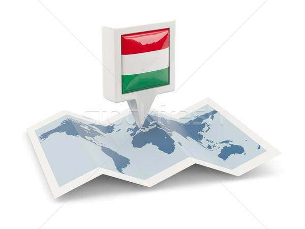 Vierkante pin vlag Hongarije kaart reizen Stockfoto © MikhailMishchenko