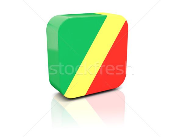 Placu ikona banderą republika Congo refleksji Zdjęcia stock © MikhailMishchenko