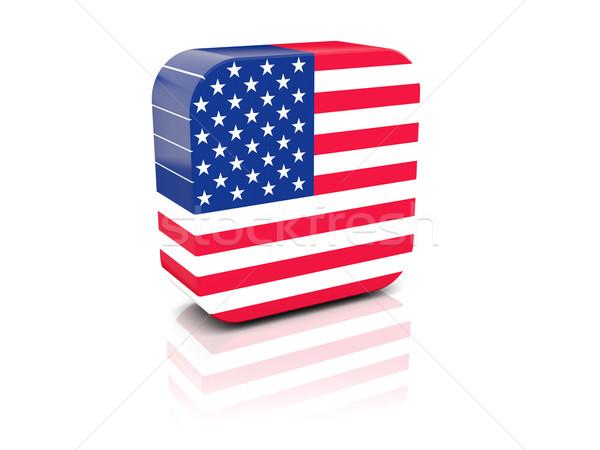 Kare ikon bayrak Amerika Birleşik Devletleri Amerika yansıma Stok fotoğraf © MikhailMishchenko