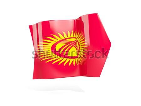 Kare ikon bayrak Kırgızistan Metal çerçeve Stok fotoğraf © MikhailMishchenko