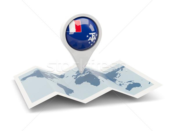 Pin bandera francés meridional viaje búsqueda Foto stock © MikhailMishchenko