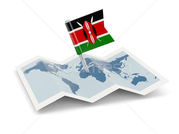 ストックフォト: 地図 · フラグ · ケニア · 孤立した · 白