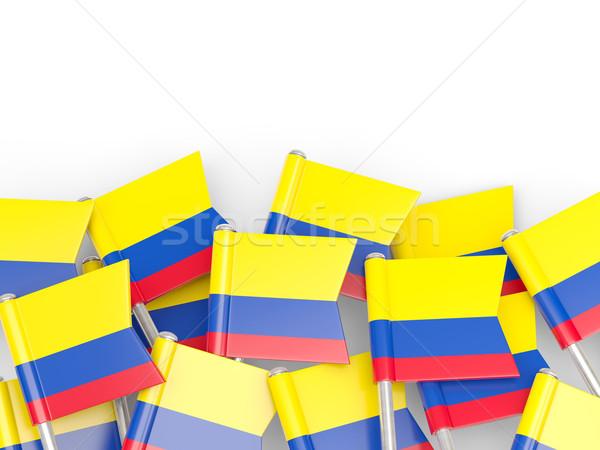 Zászló tő Colombia izolált fehér háttér Stock fotó © MikhailMishchenko